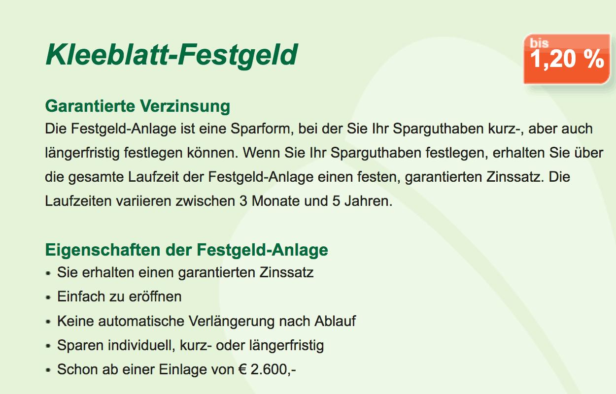 """Das """"Kleeblatt-Festgeld"""" der GarantiBank"""