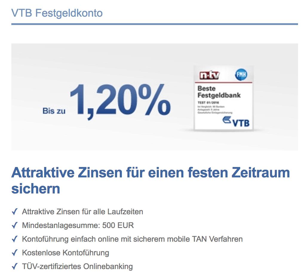 Die Vorteile des VTB Festgelds auf einen Blick