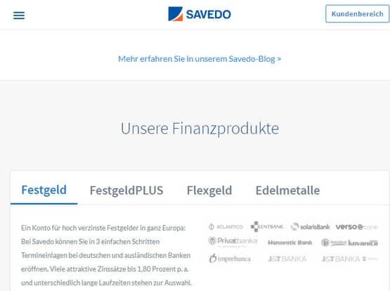 Auf Savedo ein Festgeldkonto eröffnen