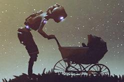 Roboter mit Kinderwagen auf einem Hügel