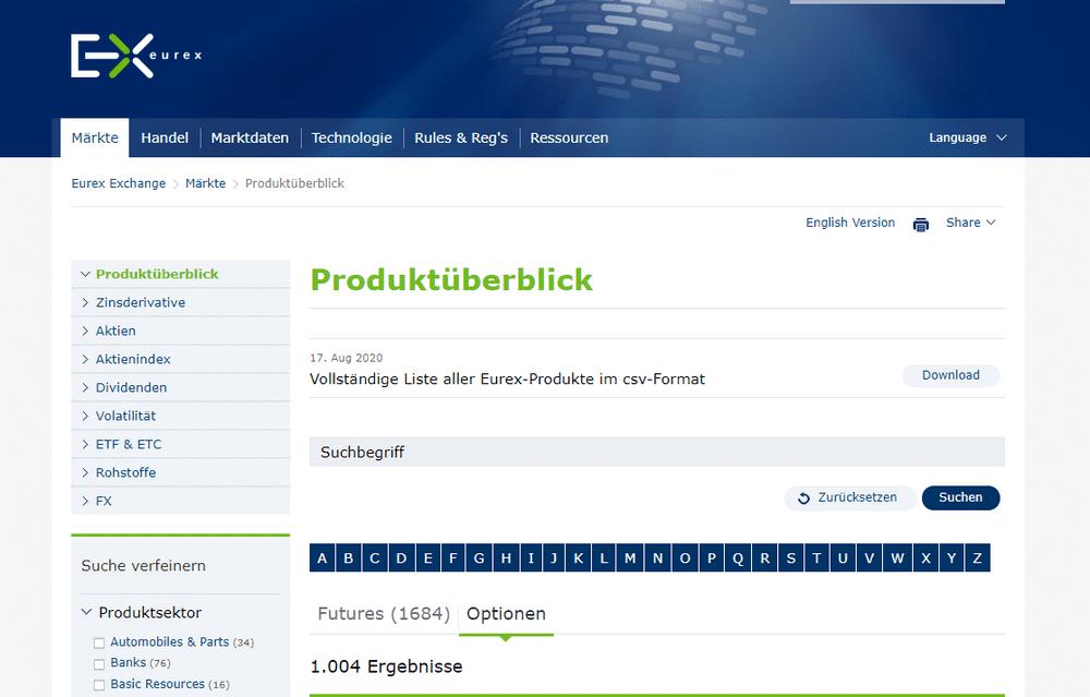 Zu sehen ist auf der Eurex Webseite ein Produktüberblick des Handelsangebots Optionen und Futures