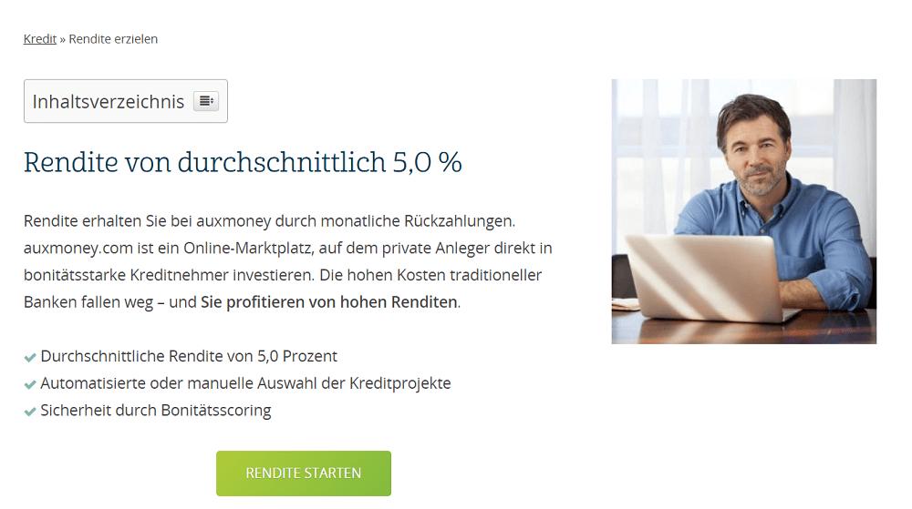 Auxmoney Homepage Rendite von durchschnittlich 5%