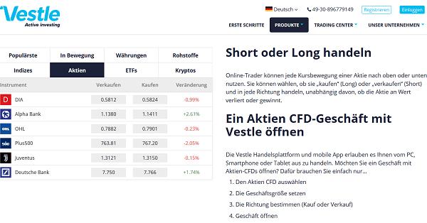 CFD Aktien Vestle