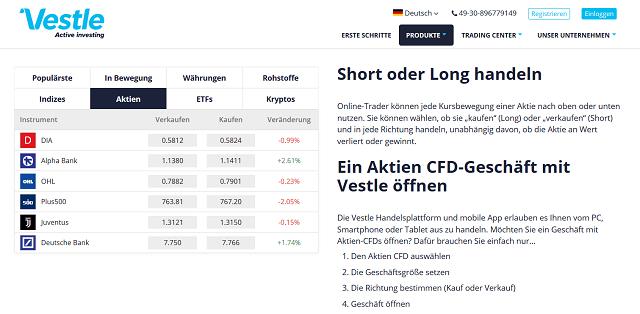 CFD Aktien Vestle - Vestle Erfahrungen