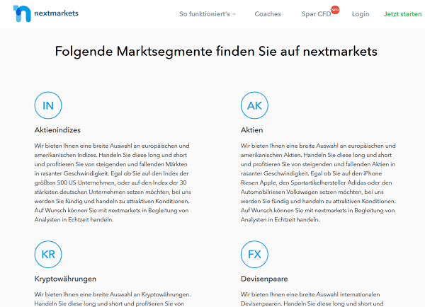 Basiswerte Nextmarkets