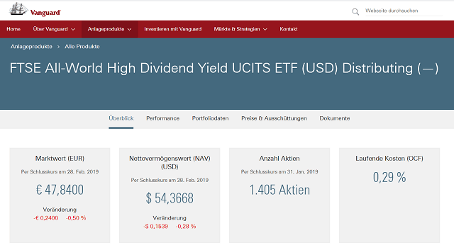 Vanguard ETF - bester dividenden etf