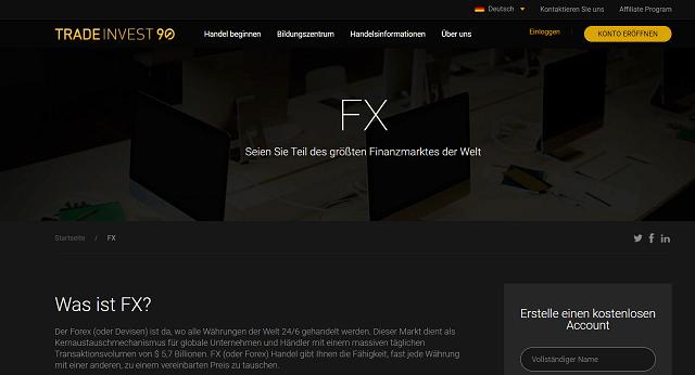 Tradinvest 90 Website