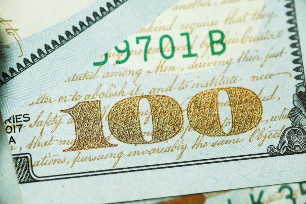 100 US-Dollar Banknote - Goldpreis