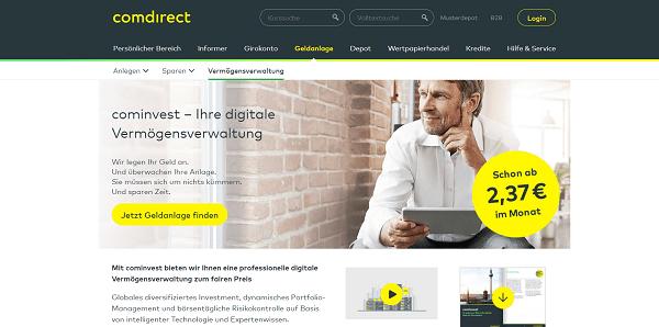 cominvest Robo-Advisor auf der comdirect Homepage