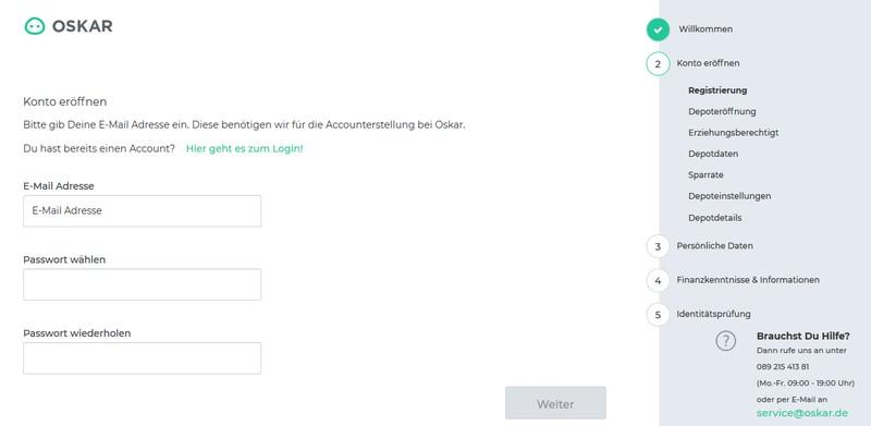 Konto erstellen - Oskar ETF Erfahrungen