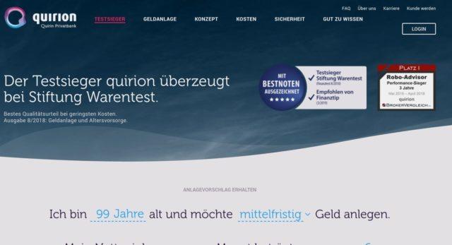 Qualitätssiegel von Stiftung Warentest und Finanztip auf der quirion-Homepage