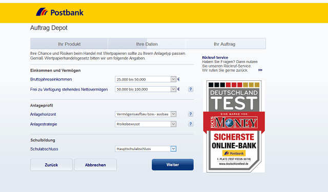 Formular Vermögensabfrage Postbank