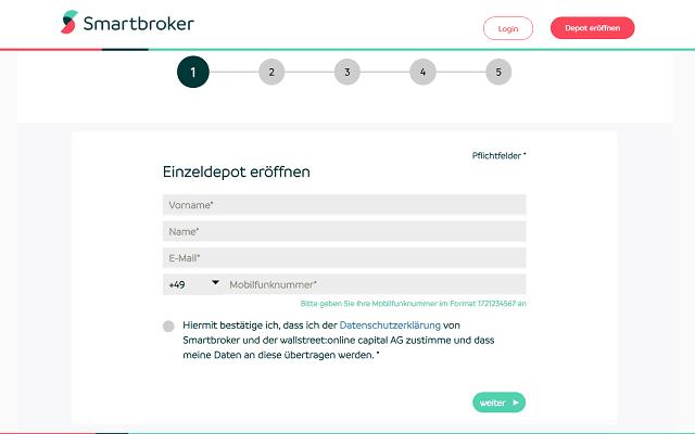 Smartbroker Eröffnung Screenshot Schritt 1
