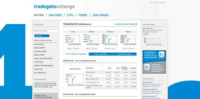 Tradegate Exchange Internetseite