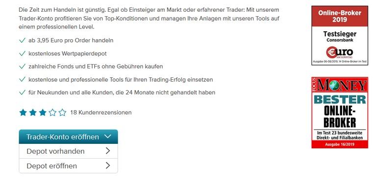 Consorsbank Trader-Konto eröffnen