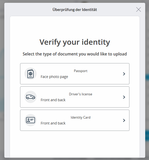 Bei Trading 212 können zu Identitätsprüfung Dokumente hochgeladen werden.