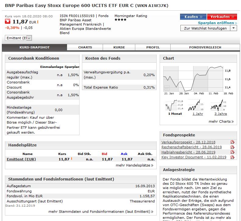 Darstellung des ETF-Sparplans bei der Consorsbank
