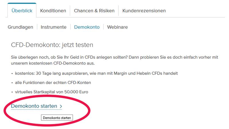CFD-Demokonto bei der Consorsbank