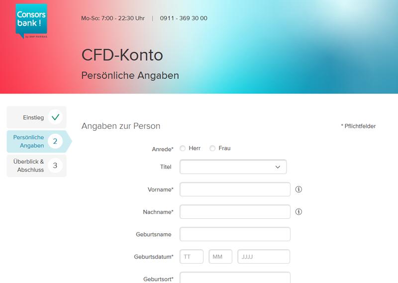 CFD-Konto der Consorsbank eröffnen