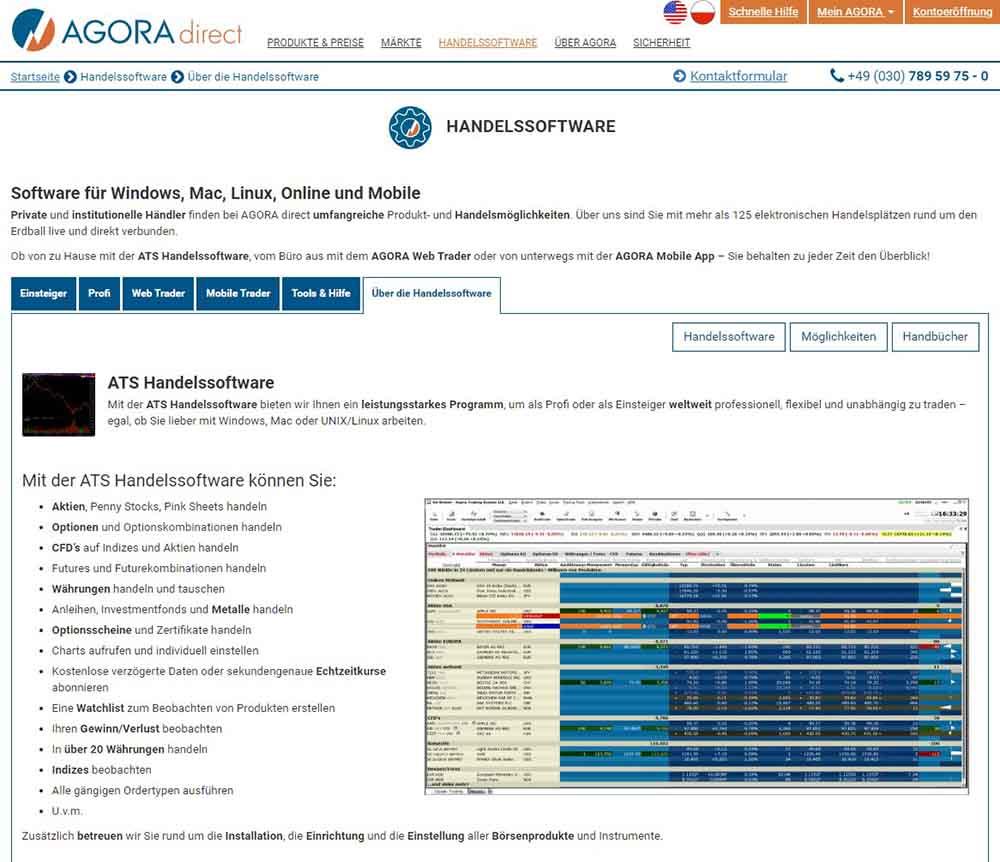 AgoraDirect ATS Handelssoftware - AGORA direct Erfahrungen