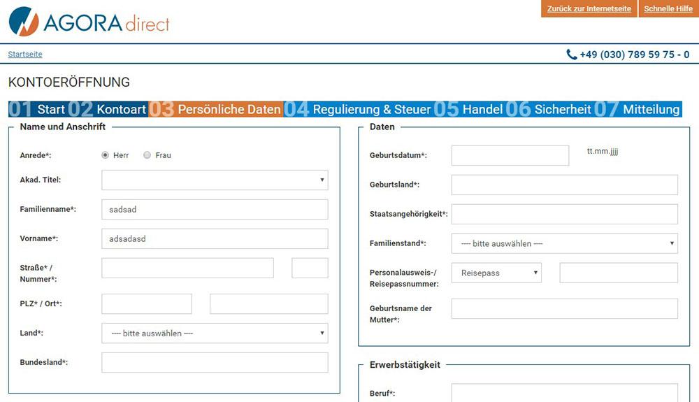 Agora Persönliche Daten eingeben - AGORA direct Erfahrungen
