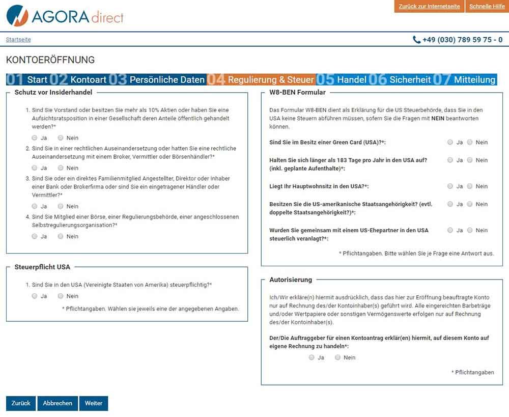 Agora Regulierung und Steuer - AGORA direct Erfahrungen
