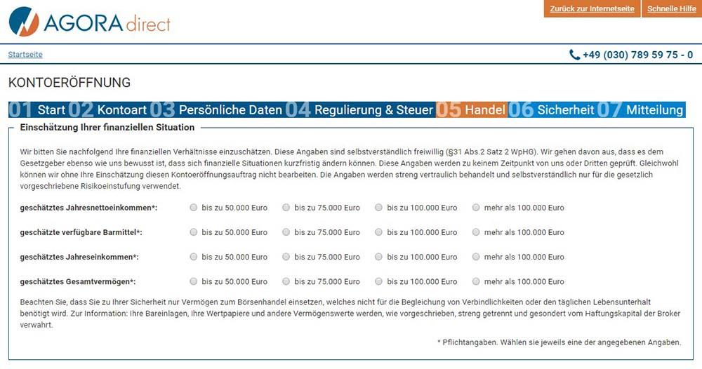 Agora Finanzielle Situation, Handelserfahrung und Kontowährung - AGORA direct Erfahrungen