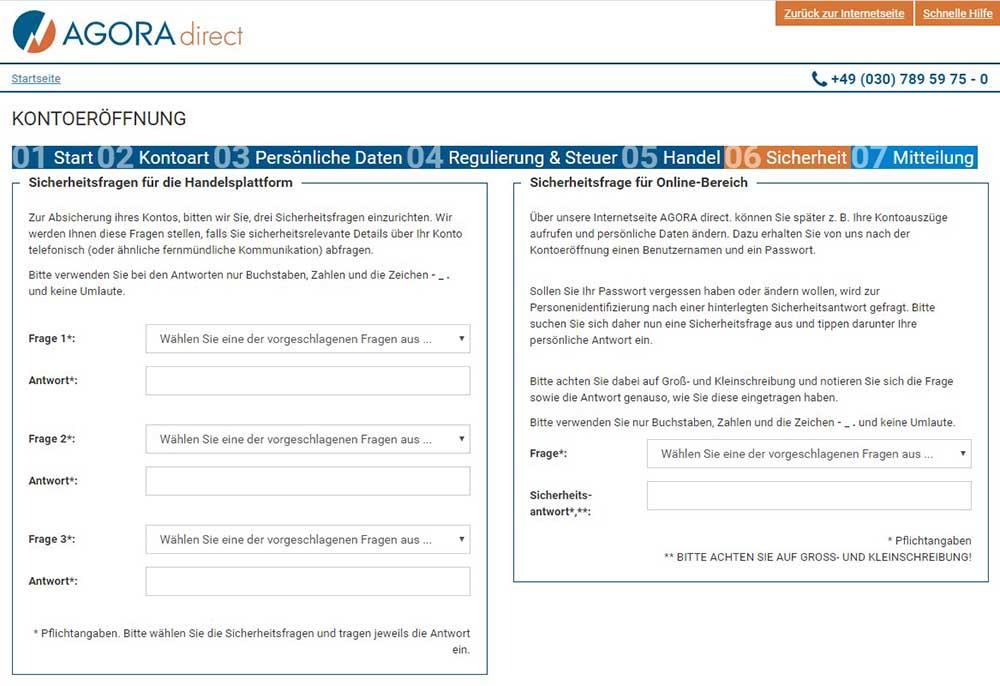 Agora Sicherheitsfragen - AGORA direct Erfahrungen