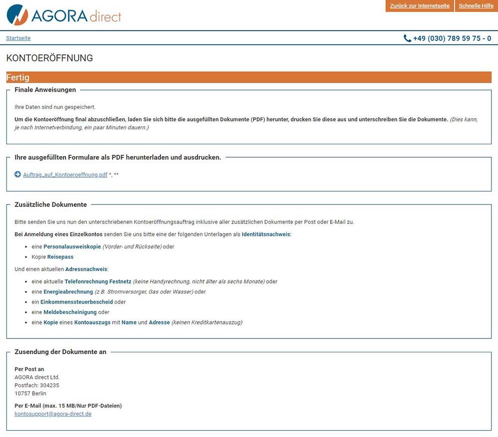 Agora Anträge ausfüllen und einschicken - AGORA direct Erfahrungen