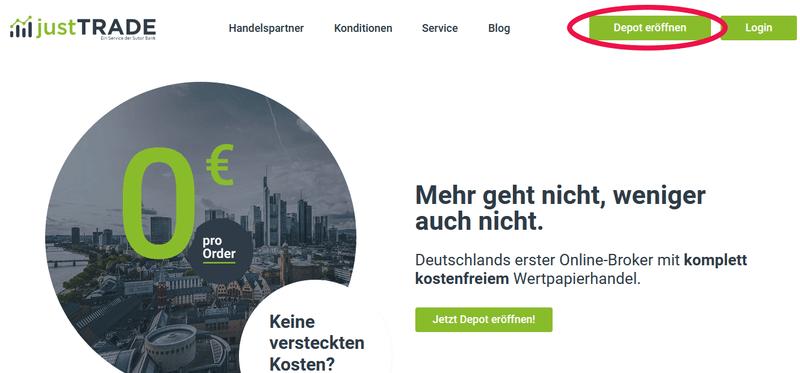 finanzen.net zero Alternative justTrade (Screenshot)