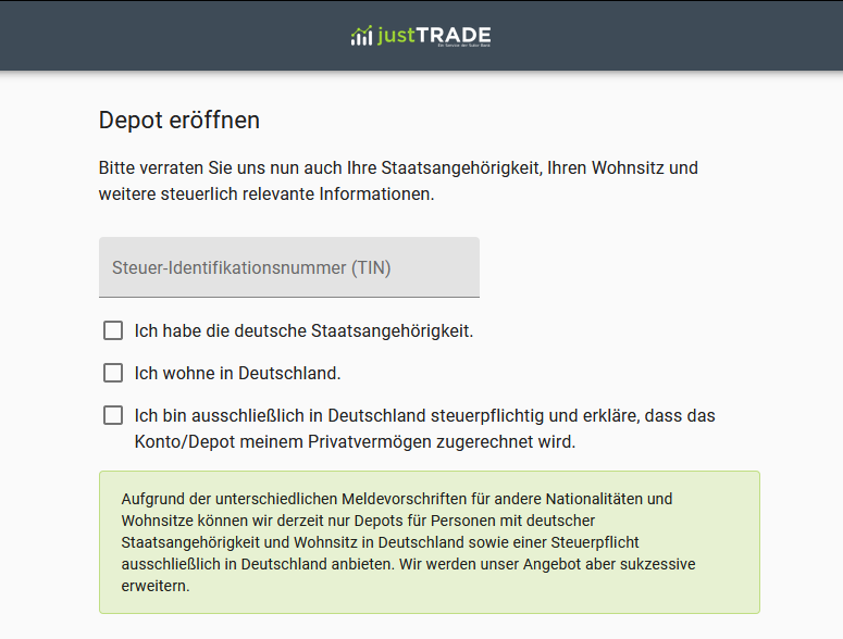 justTRADE Depoteröffnung