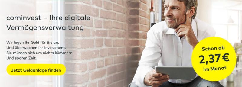 cominvest - digitale Vermögensverwaltung kann man ab 2,37€ im Monat abschließen.