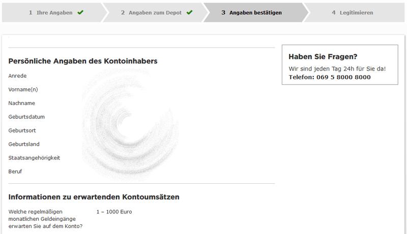 commerzbank depot erfahrungen - Eingabemaske für persönliche Daten des Kontoinhabers