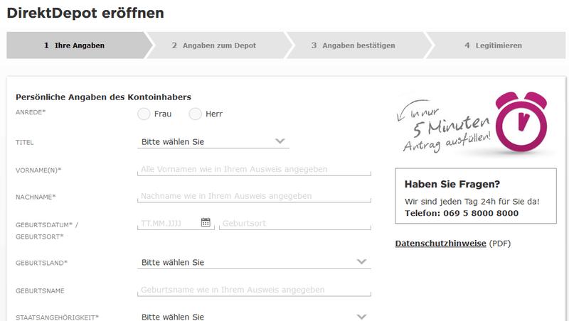 Commerzbank DirektDepot - Online-Formular zur Depoteröffnung