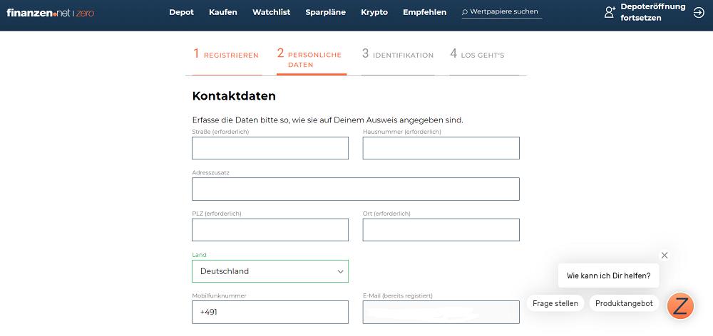 finanzen.net zero Kontaktdaten Formular