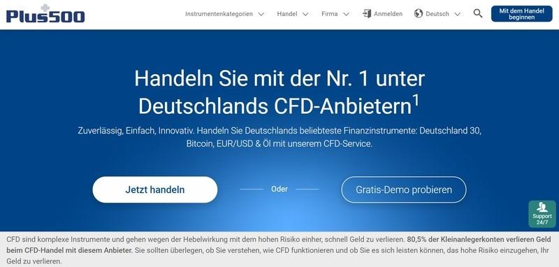 CFD-Handel bei Plus500