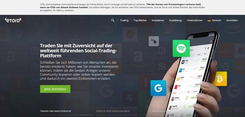 Webseite der Social Trading Plattform eToro