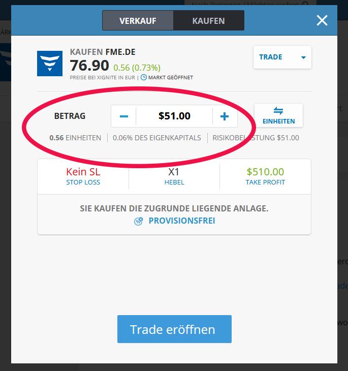eToro Teilaktien kaufen Beispiel FME
