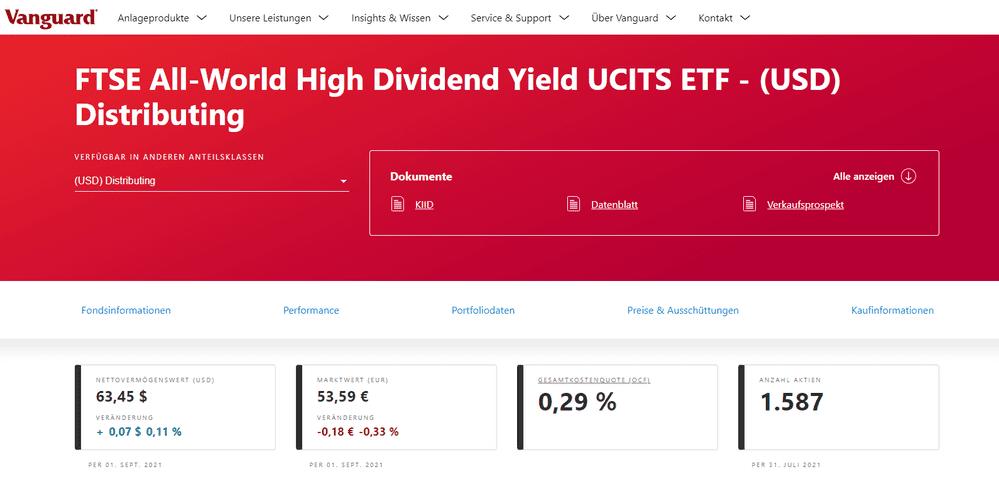 Die Grafik zeigt einen Blick auf die Seite Vanguard - Dividenden ETF