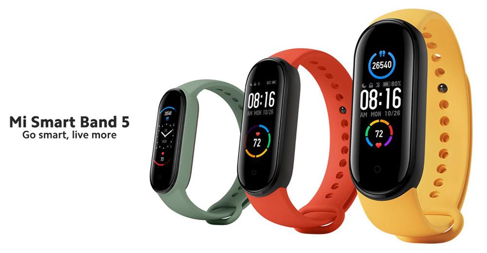 Das Mi Smart Band 5 in drei Ausführungen in grün, rot und gelb