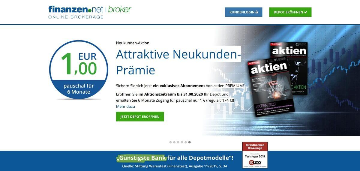 Vorstellung einer Neukunden-Prämie (1Euro pauschal für sechs Monate) - Finanzen.net Erfahrungen