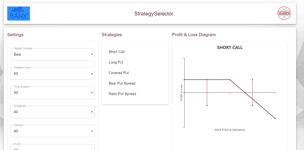 Banx Optionen Erfahrungen Screenshot des StrategySelector