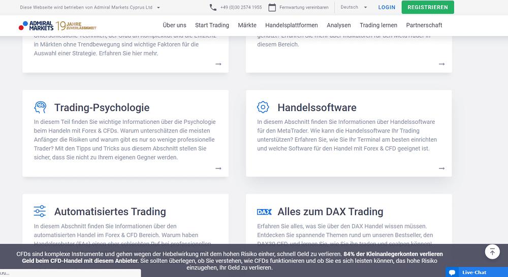 Admiral Markets bietet u.a. Informationen über die Handelssoftware.
