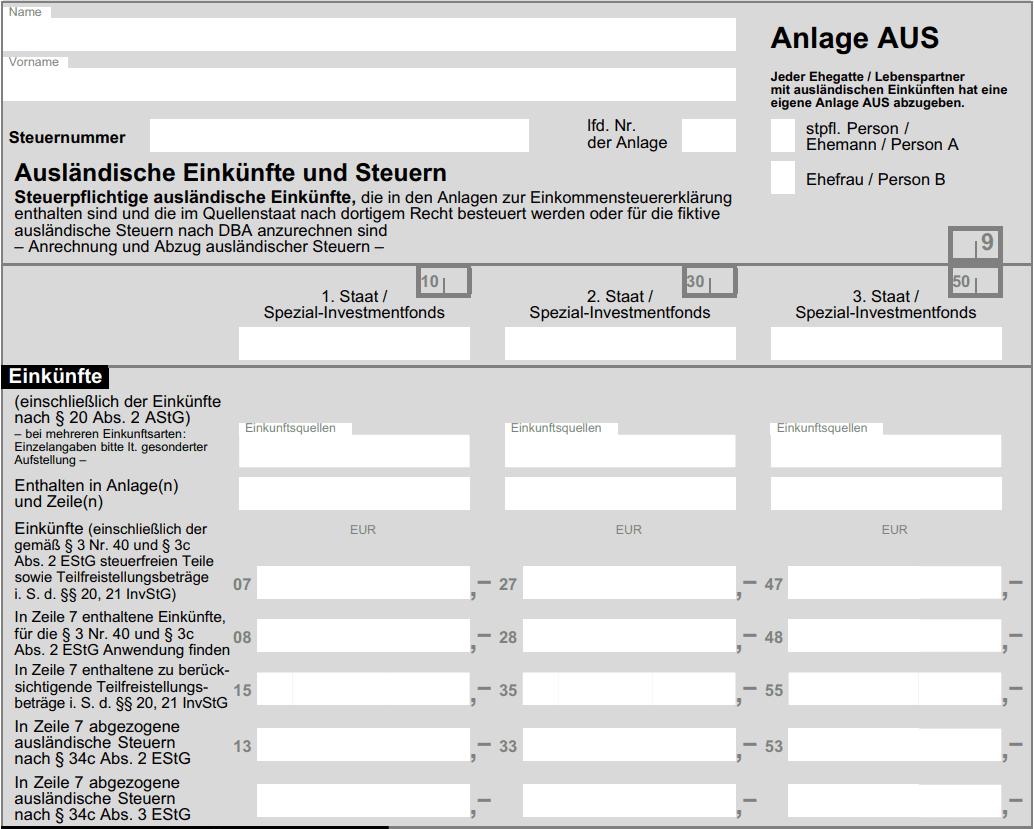 Anlage AUS bei Steuererklärung