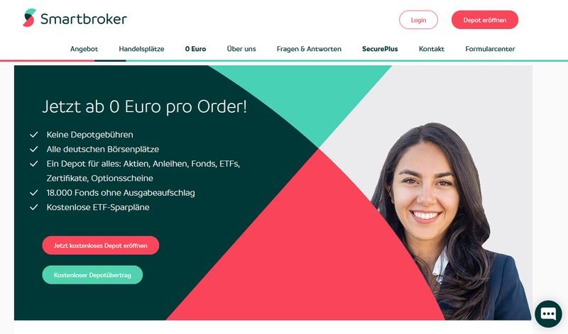 Smartbroker Website - Neo Broker Vergleich