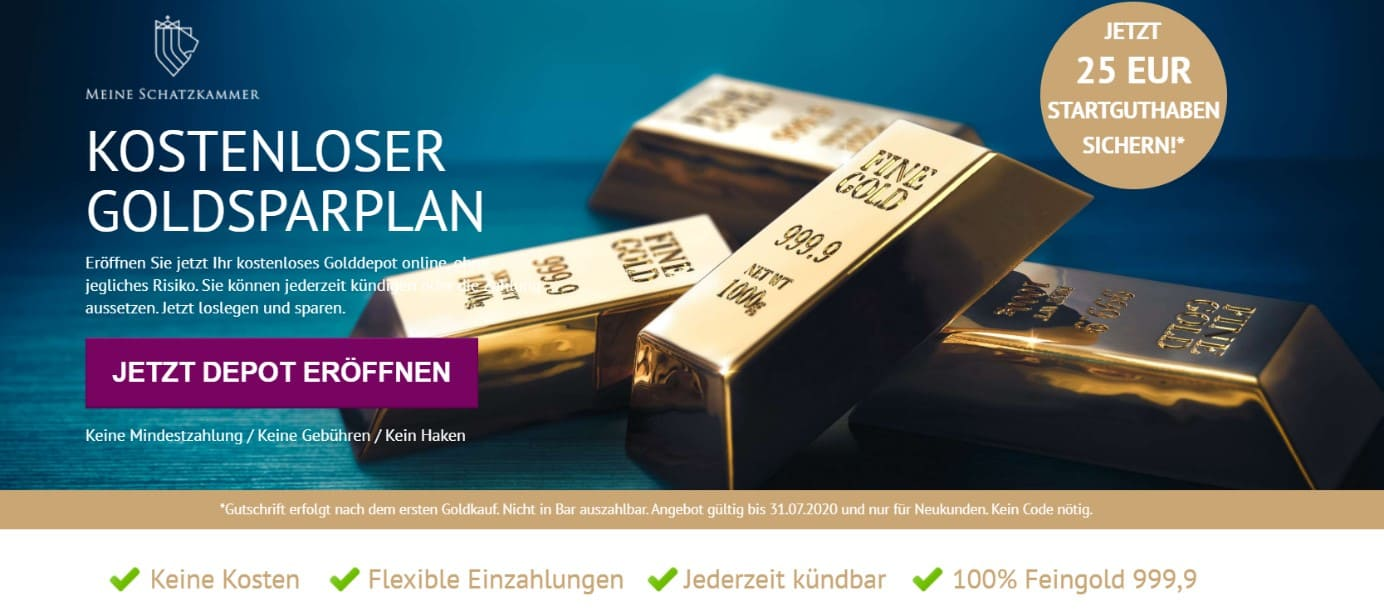 Meine Schatzkammer - Depot für kostenlosen Goldsparplan eröffnen