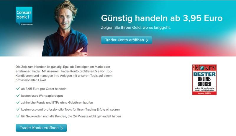 Consorsbank Online Depot Webseite - Direktbank Vergleich