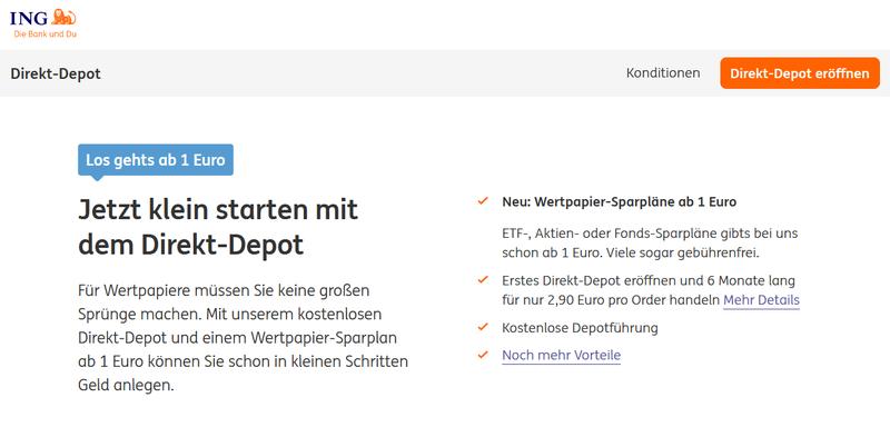 ING Direkt Depot Webseite - Direktbank Vergleich