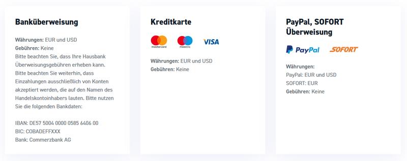 Zahlungsmethoden xtb