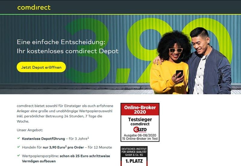 comdirect Depot Webseite - Direktbank Vergleich
